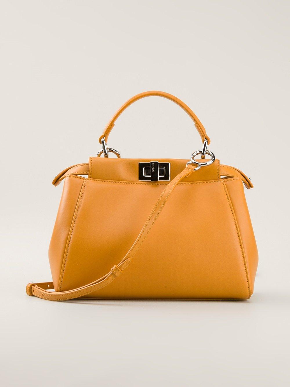 03ebe6ca6e Fendi Peekaboo Small Tote Bag in Yellow - Lyst