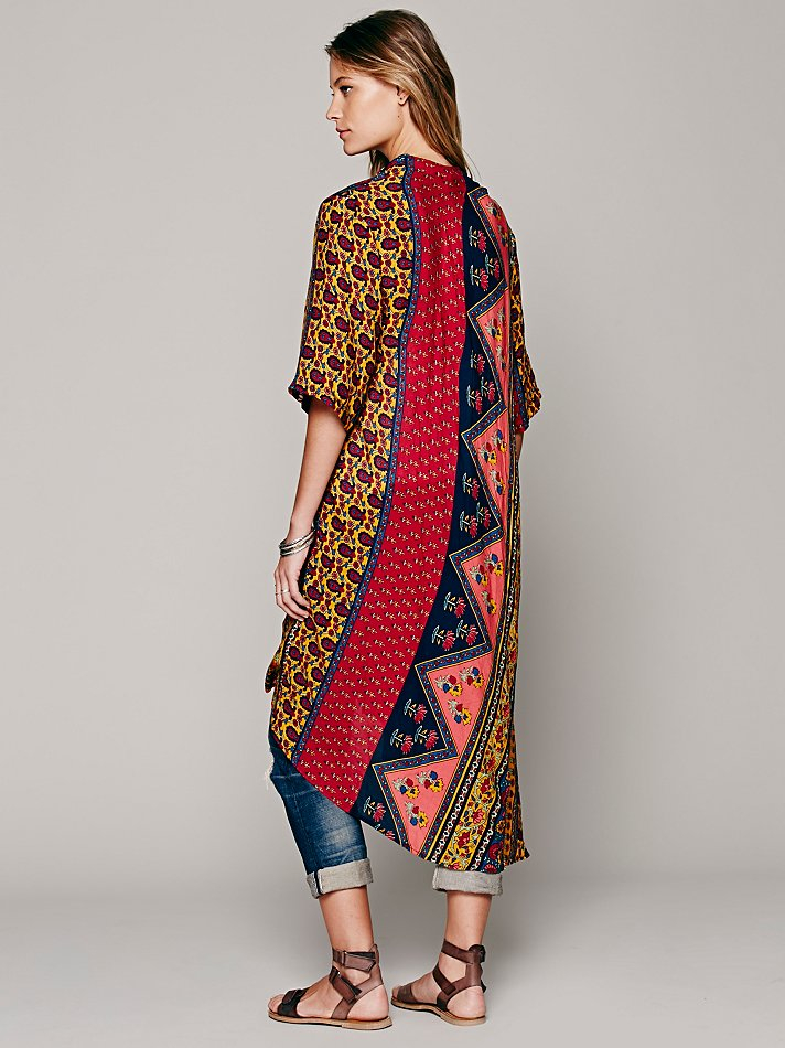 Lyst Free People Short Sleeve Printed Maxi Duster
