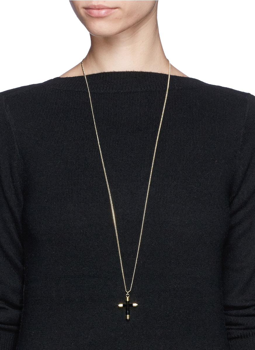 Givenchy Cross Pendant Necklace in Metallic