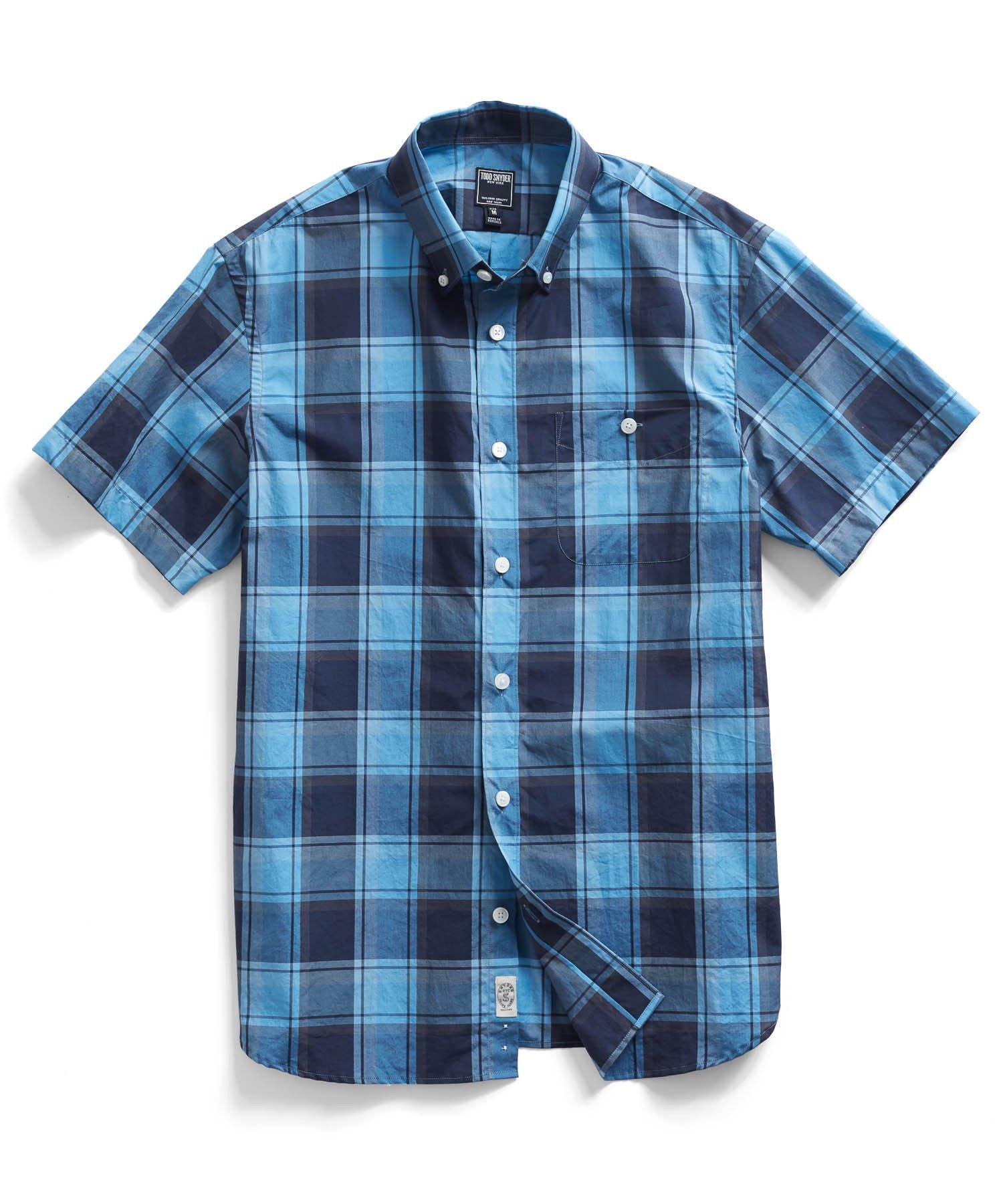 todd snyder blue plaid short sleeve shirt in blue for men