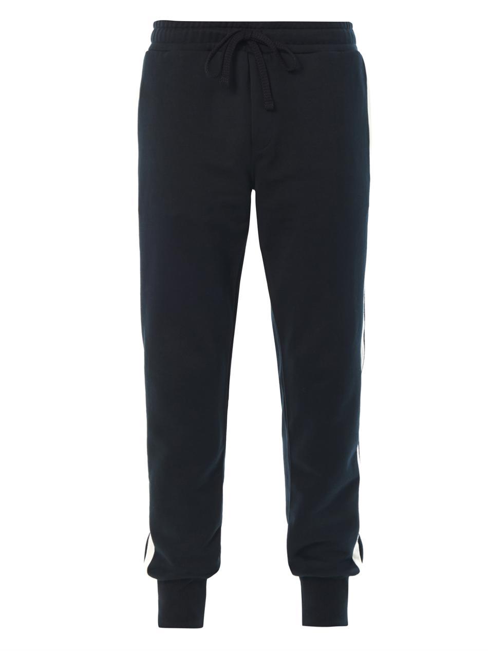 Dolce Amp Gabbana Side Stripe Jersey Sweatpants In Blue For