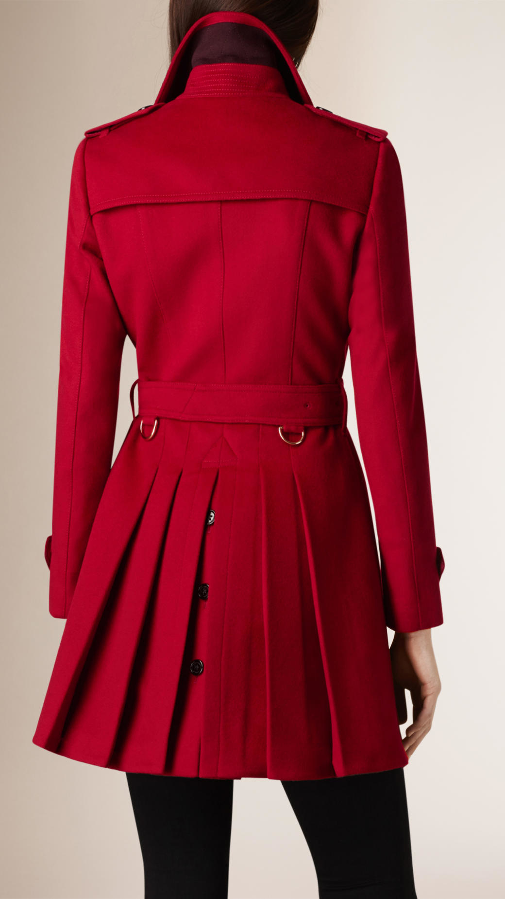 Trench Detail Red Burberry Pleat Coat Wool Cashmere Lyst In UXHPgAxwnq 40f585a8e10