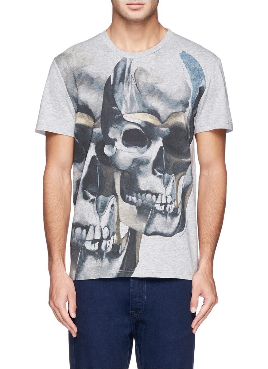 Lyst alexander mcqueen t shirt in gray for men for Alexander mcqueen shirt men