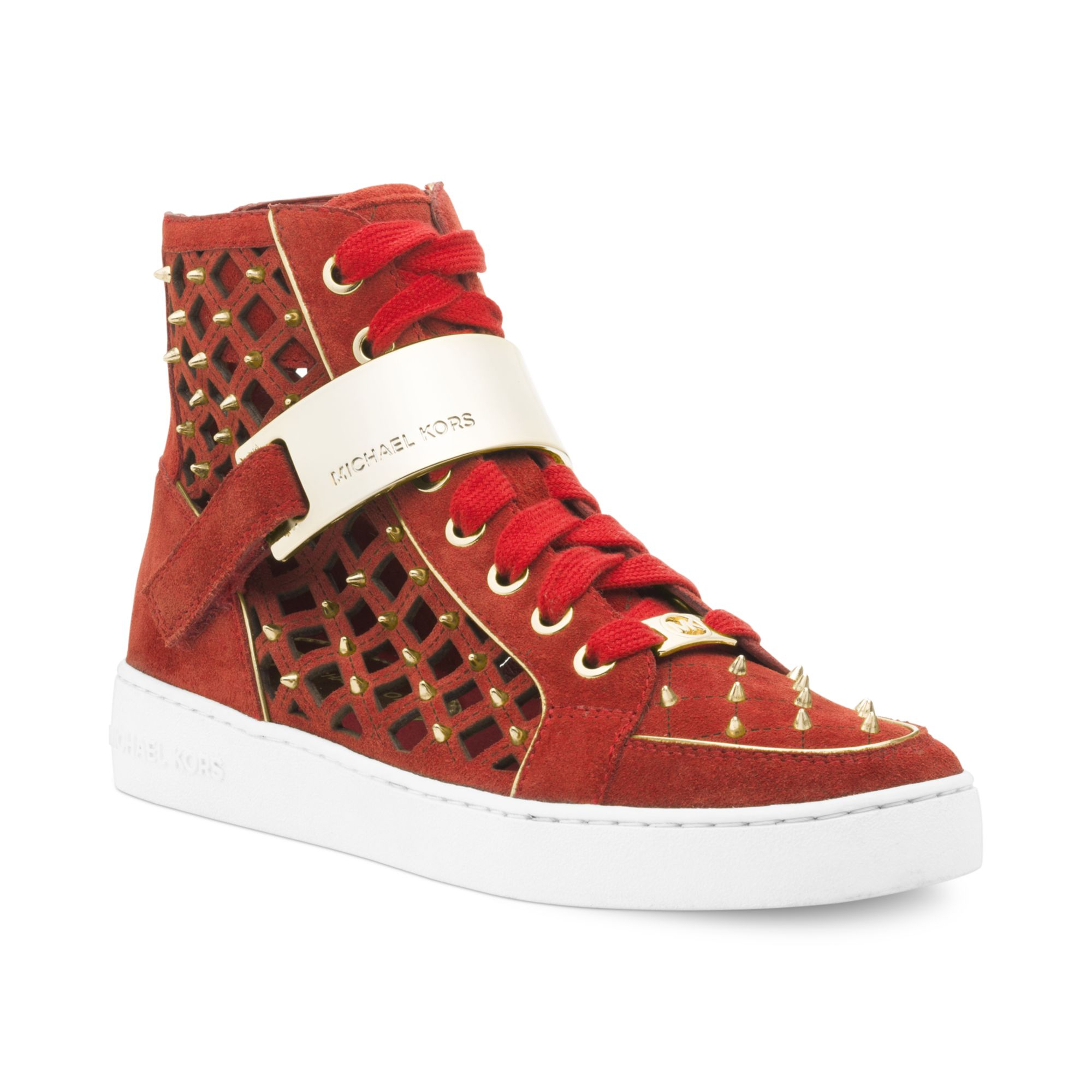 michael kors michael keaton high top sneakers in red lyst. Black Bedroom Furniture Sets. Home Design Ideas