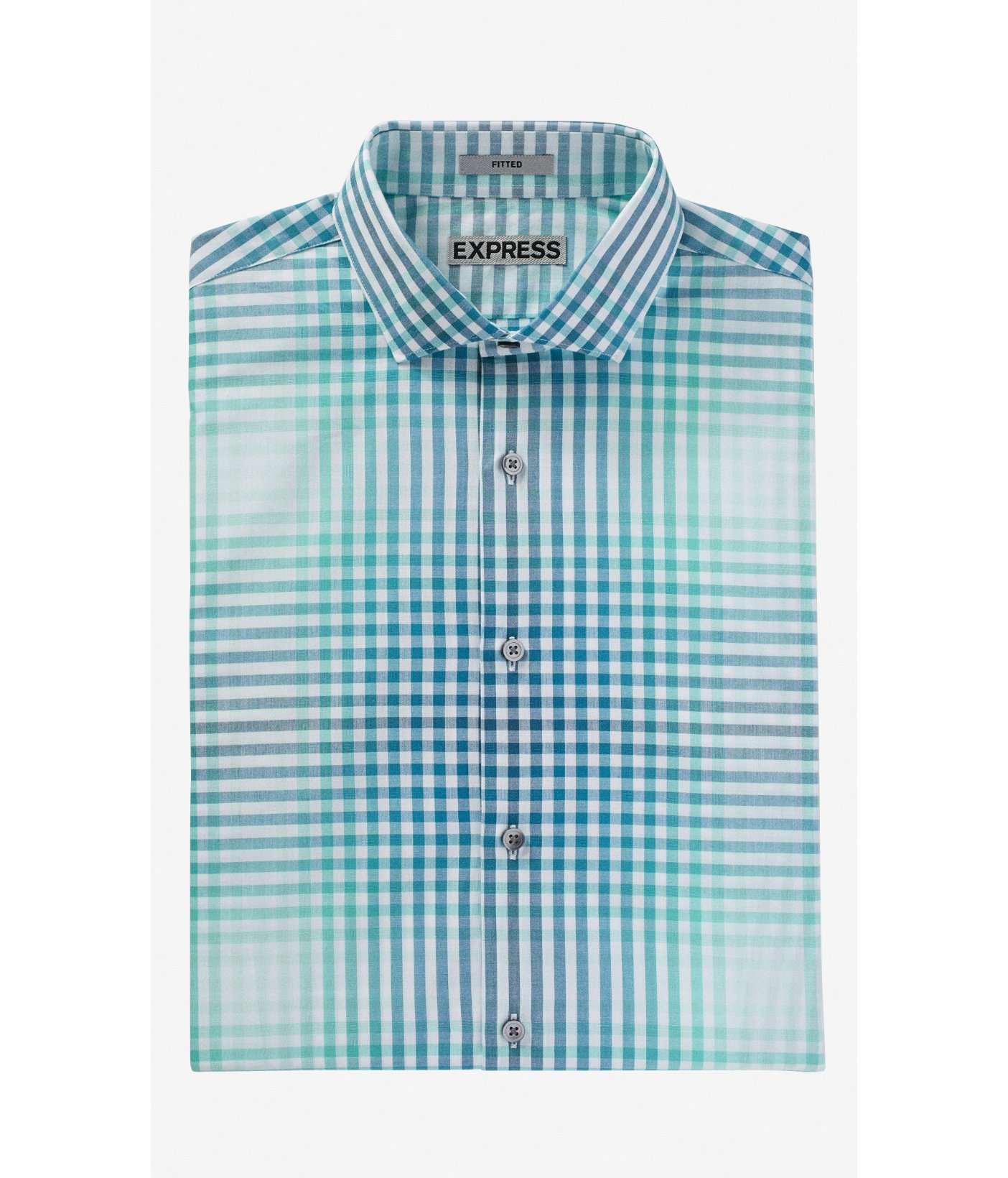 Express Fitted Plaid Dress Shirt In Teal For Men Teal