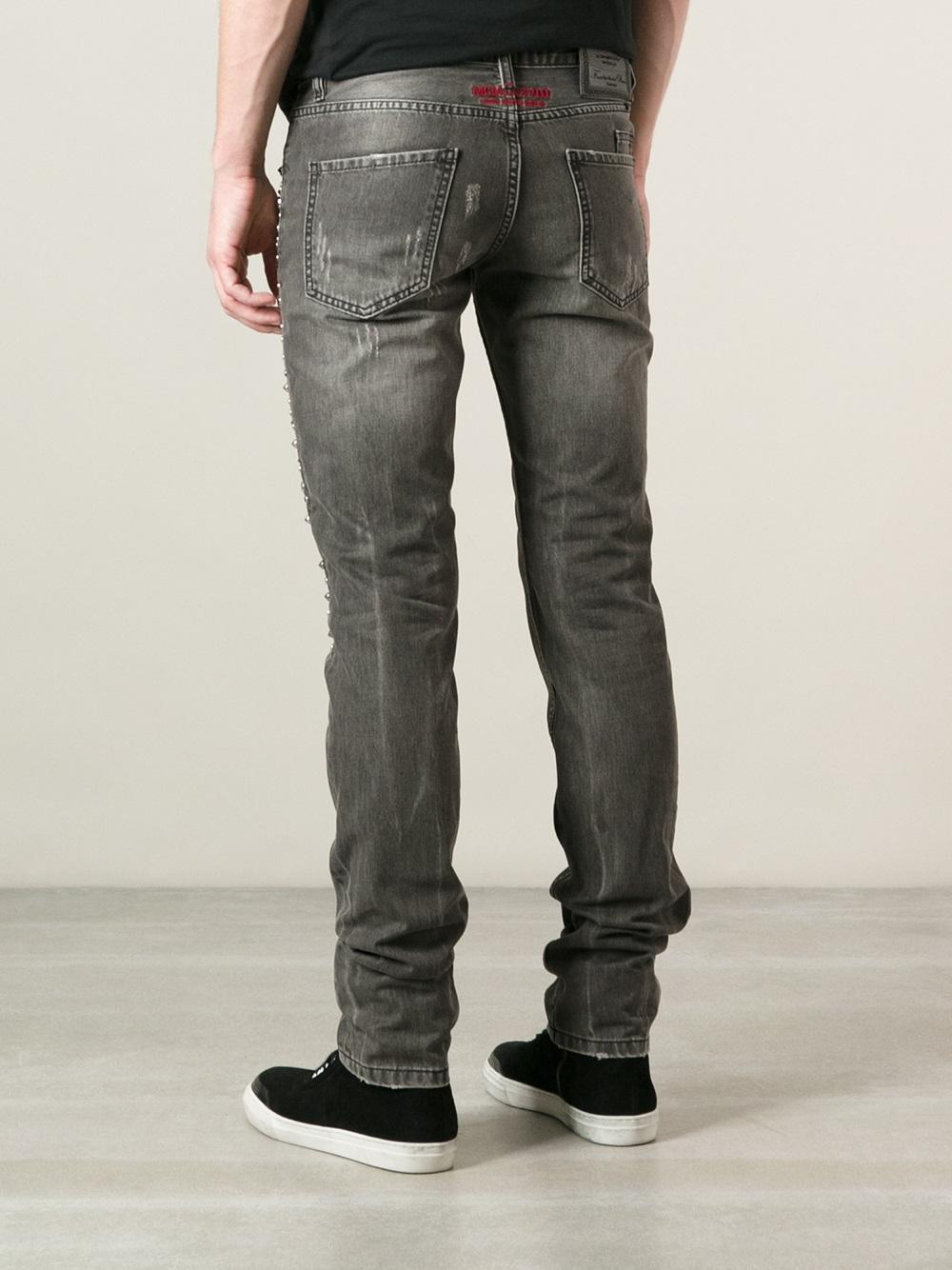 lyst philipp plein embellished jeans in gray for men. Black Bedroom Furniture Sets. Home Design Ideas