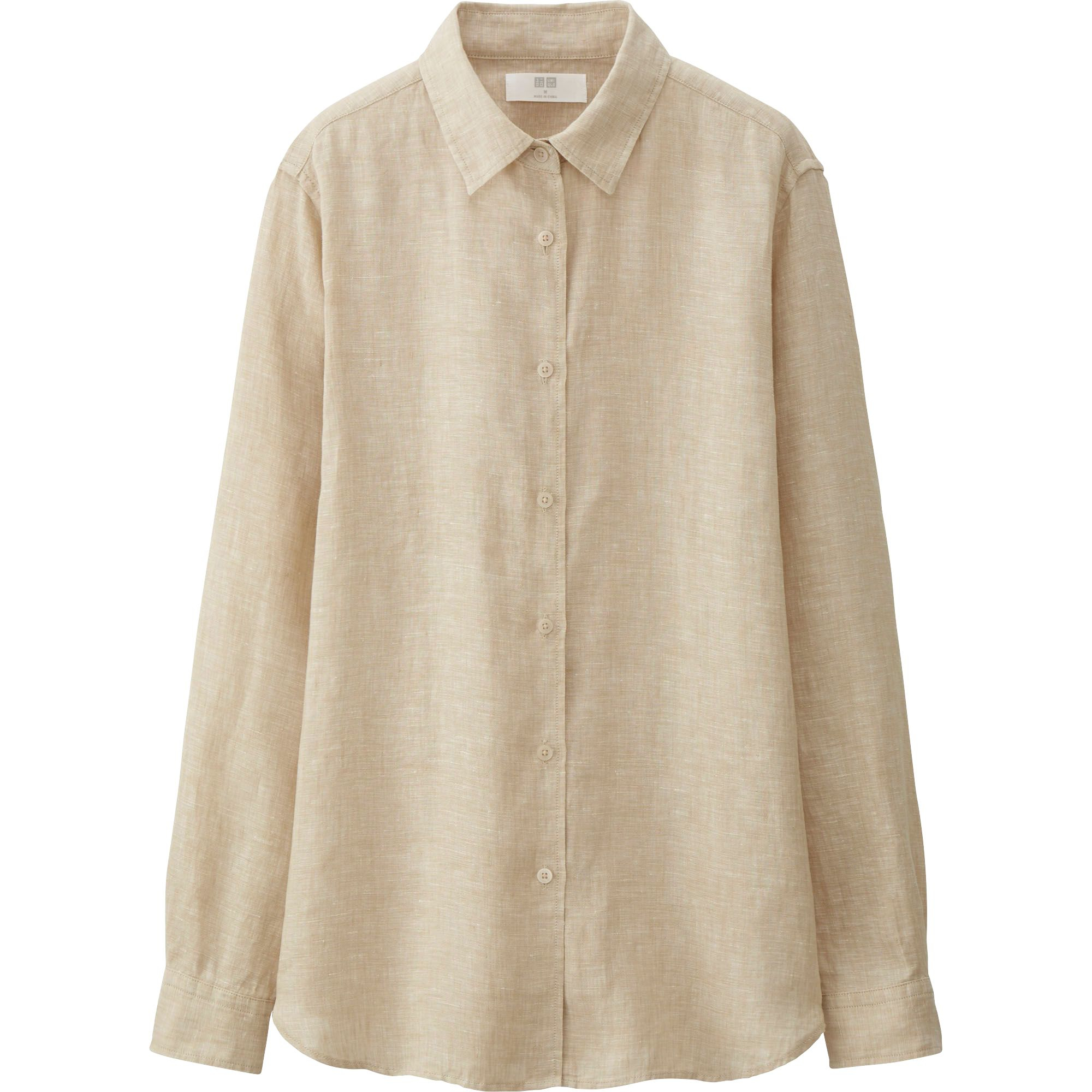 Uniqlo women 39 s premium linen long sleeve button front for Uniqlo premium t shirt