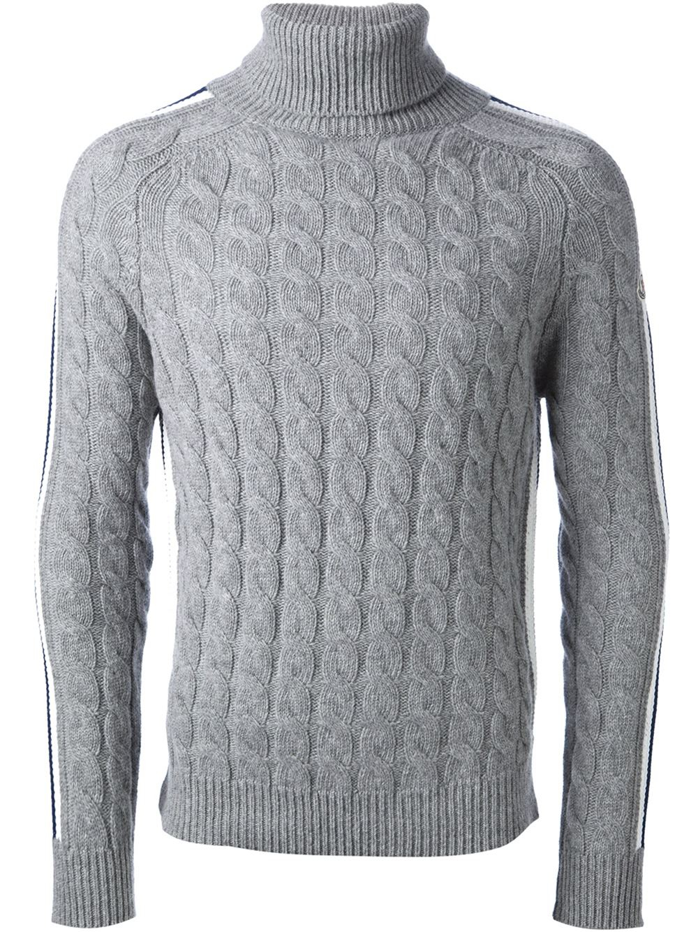 Moncler Cable Knit Sweater in Gray for Men | Lyst