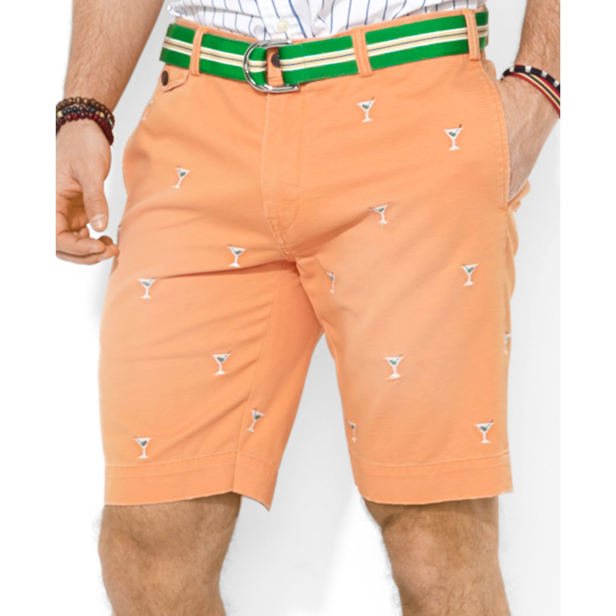 For Lauren Men Polo Ralph Classicfit Orange Shorts Chino Greenwich Embroidered TluK3cF1J