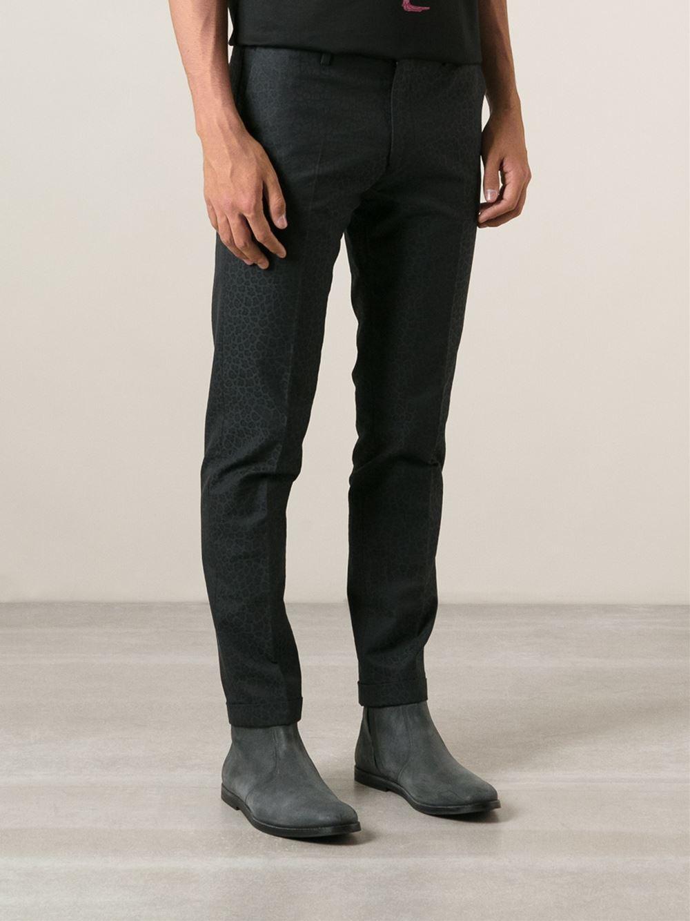 Paul Smith Leopard Pattern Slim Fit Trousers in Blue for Men