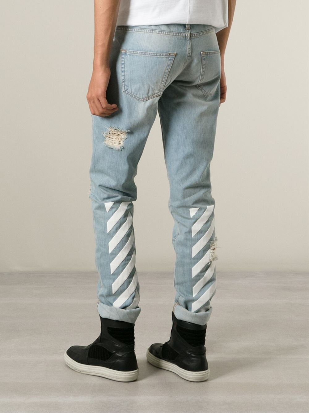 Off-white c/o virgil abloh Distressed Printed Jeans in Blue for ...