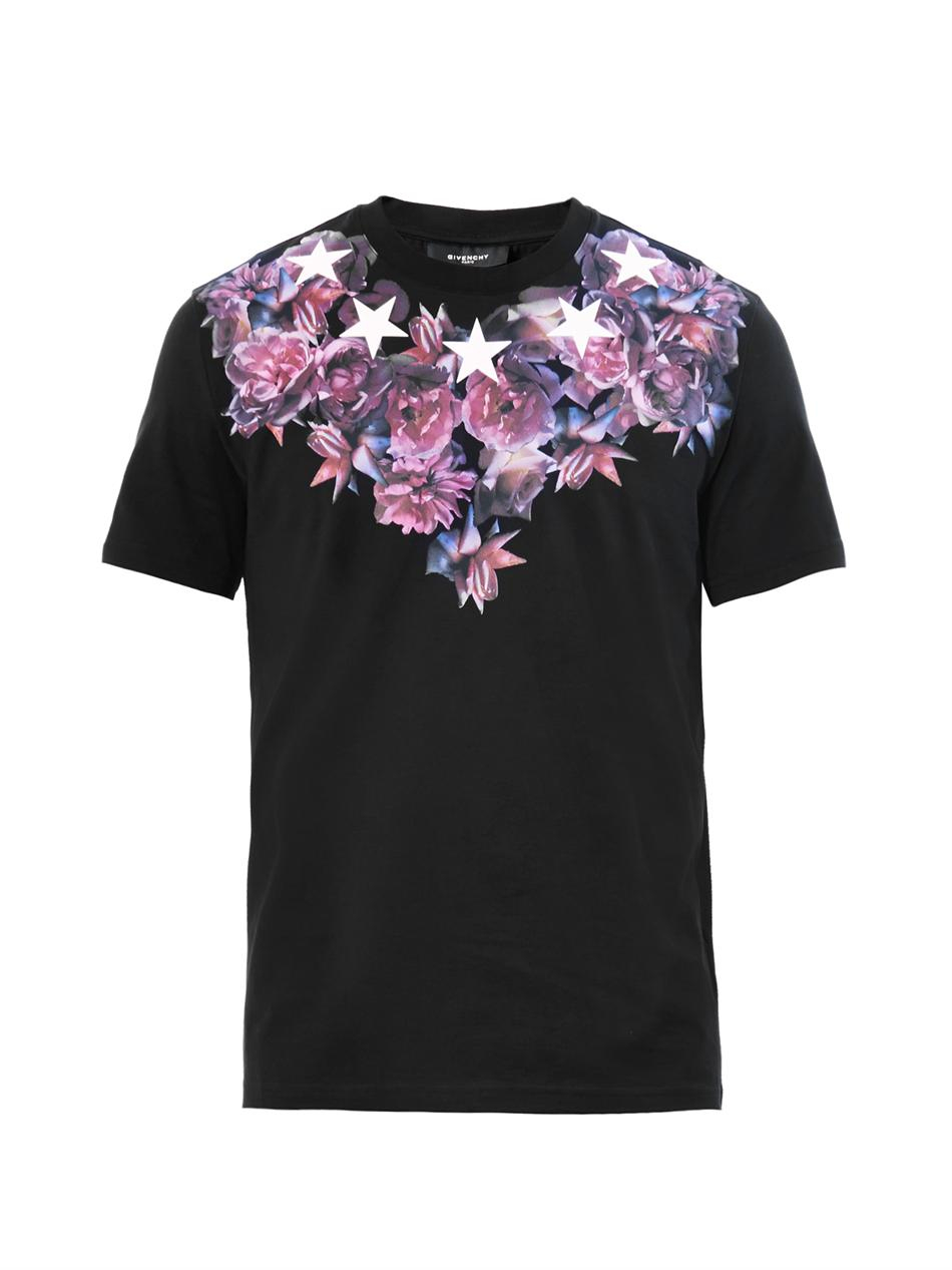 Givenchy rose and starsprint cotton tshirt in black for for Givenchy t shirts for sale