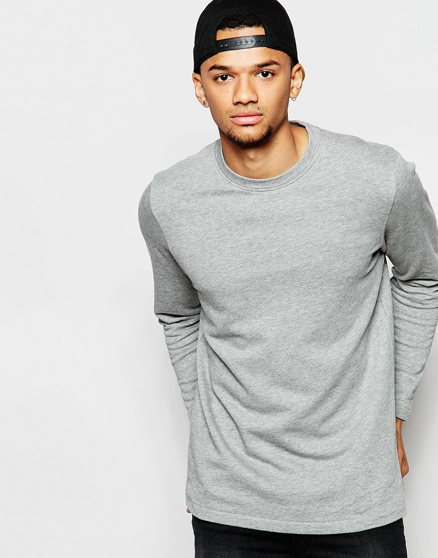 jack jones sweatshirt with hem detail in gray for men lyst. Black Bedroom Furniture Sets. Home Design Ideas