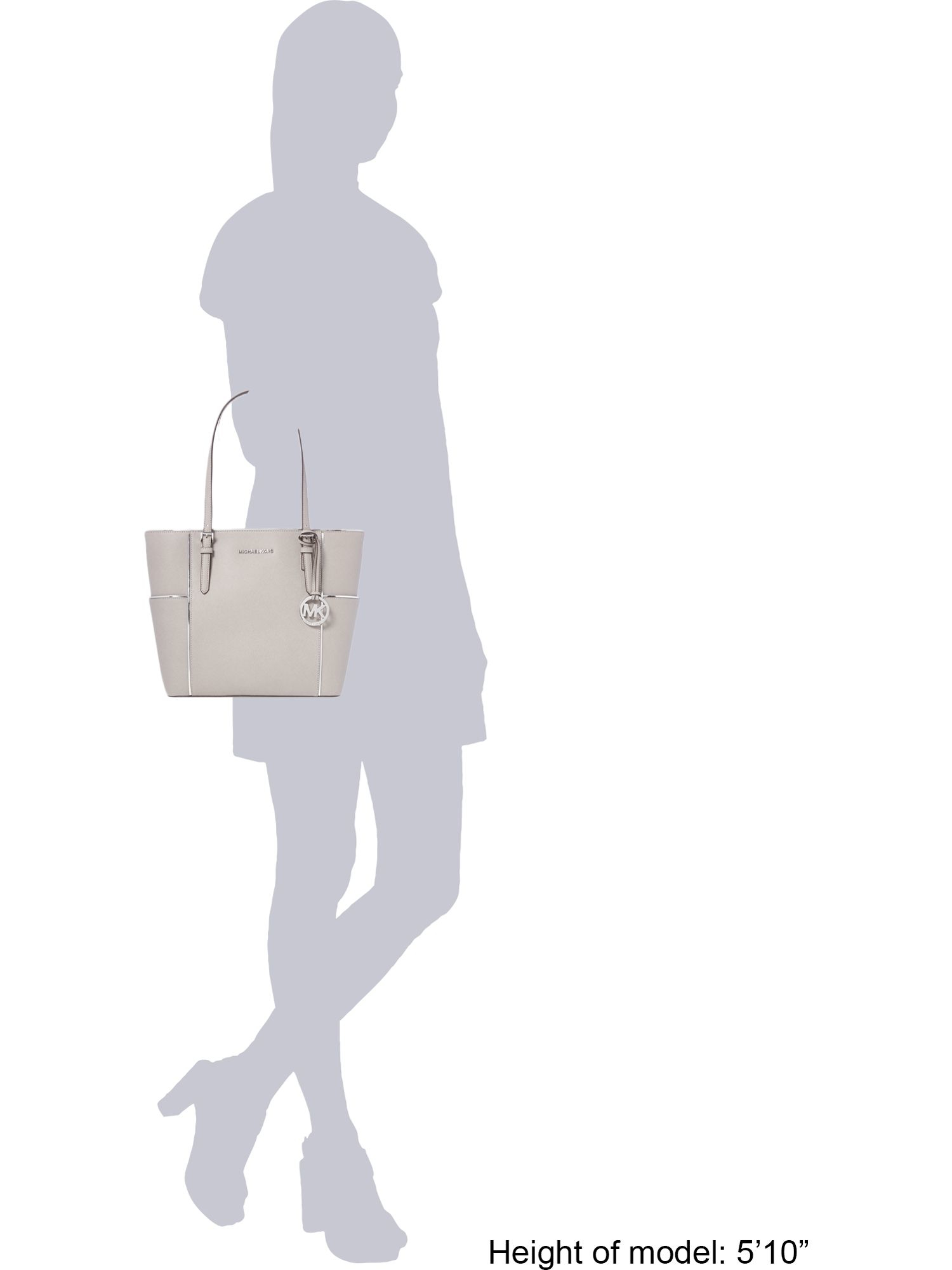 Michael Kors Jetset Grey Pocket Tote Bag in Grey