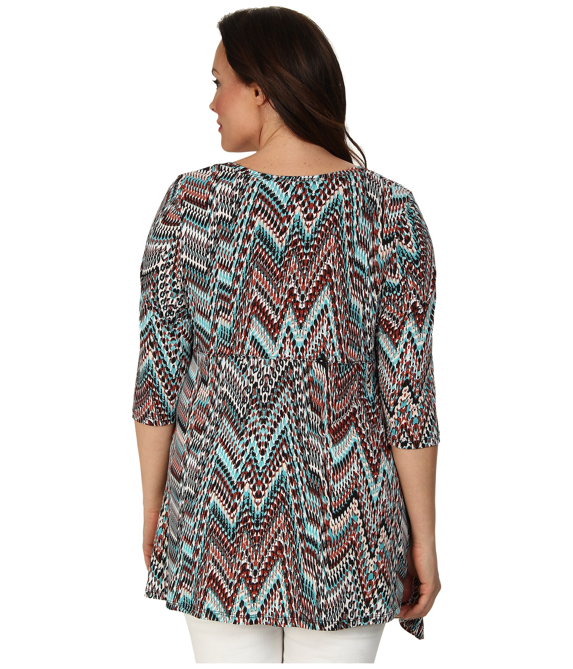 Karen Kane Plus Plus Size 3 4 Sleeve Handkerchief Top In