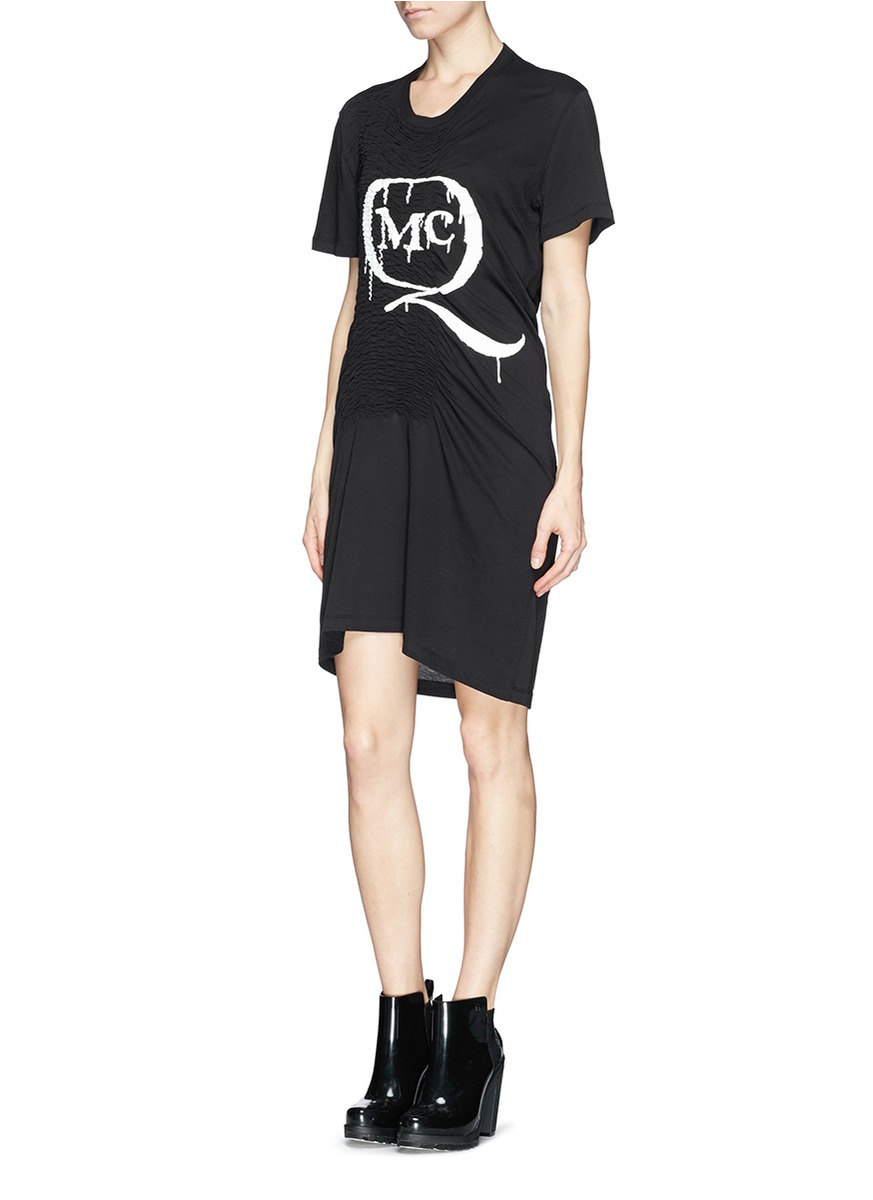 Mcq paint drip logo print smock t shirt dress in black lyst for Logo t shirt dress