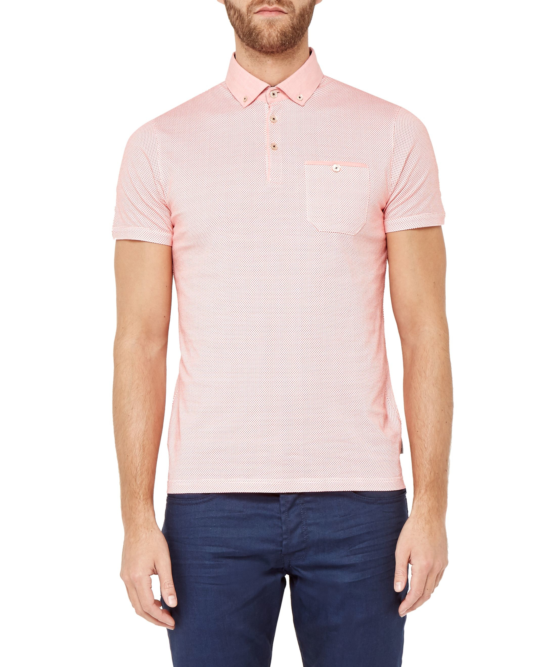 Lyst ted baker rustoo geo print cotton polo shirt in for Ted baker mens polo shirts