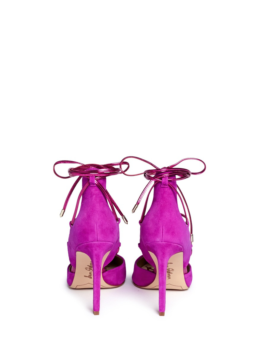 ad23a5d9d131d Lyst - Sam Edelman  dayna  Suede Lace-up Pumps in Pink