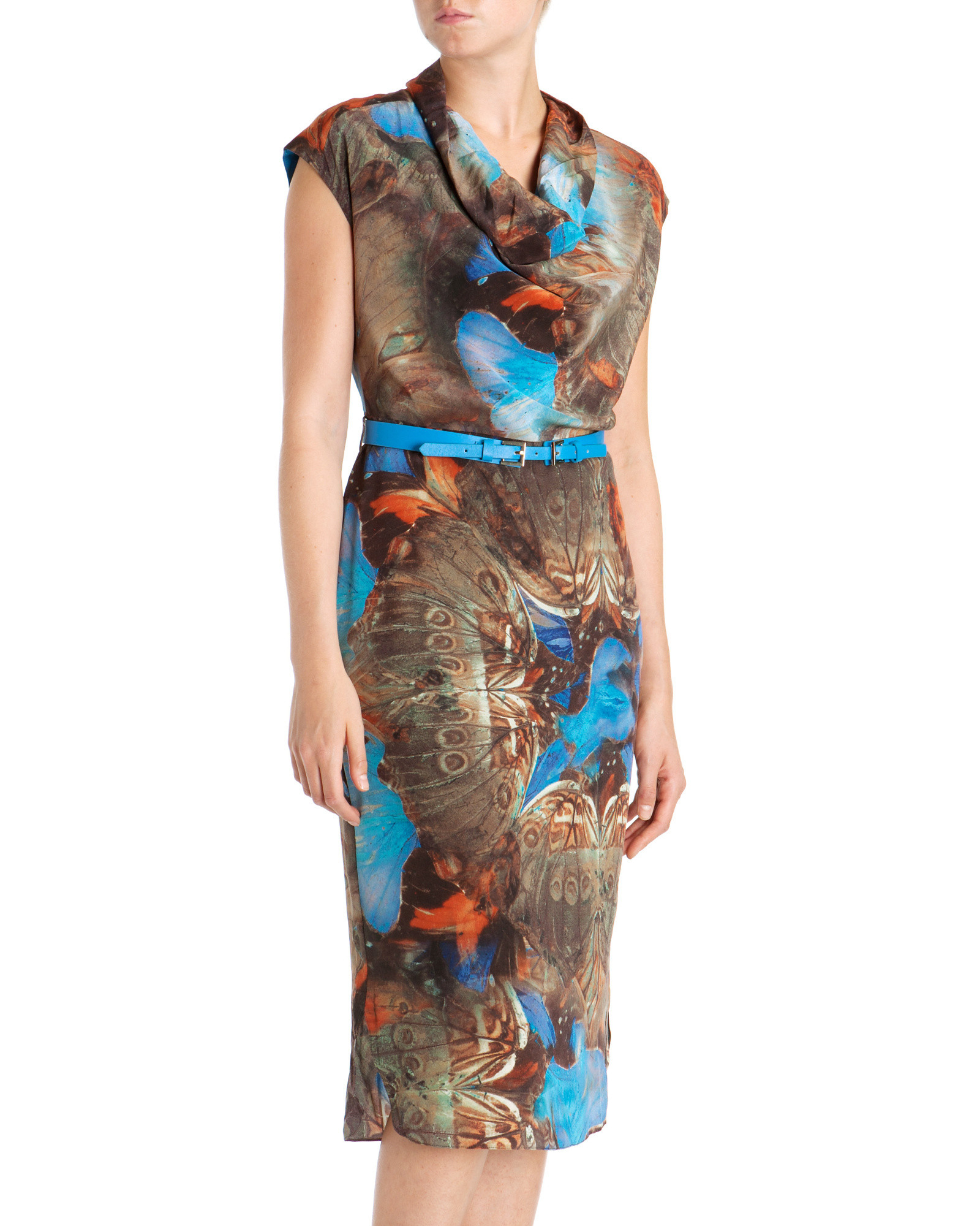 Ted Baker Printed Cowl Neck Dress