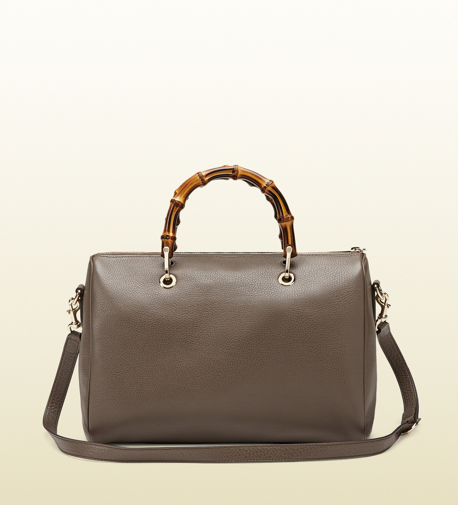 gucci bamboo shopper leather boston bag in gray lyst. Black Bedroom Furniture Sets. Home Design Ideas