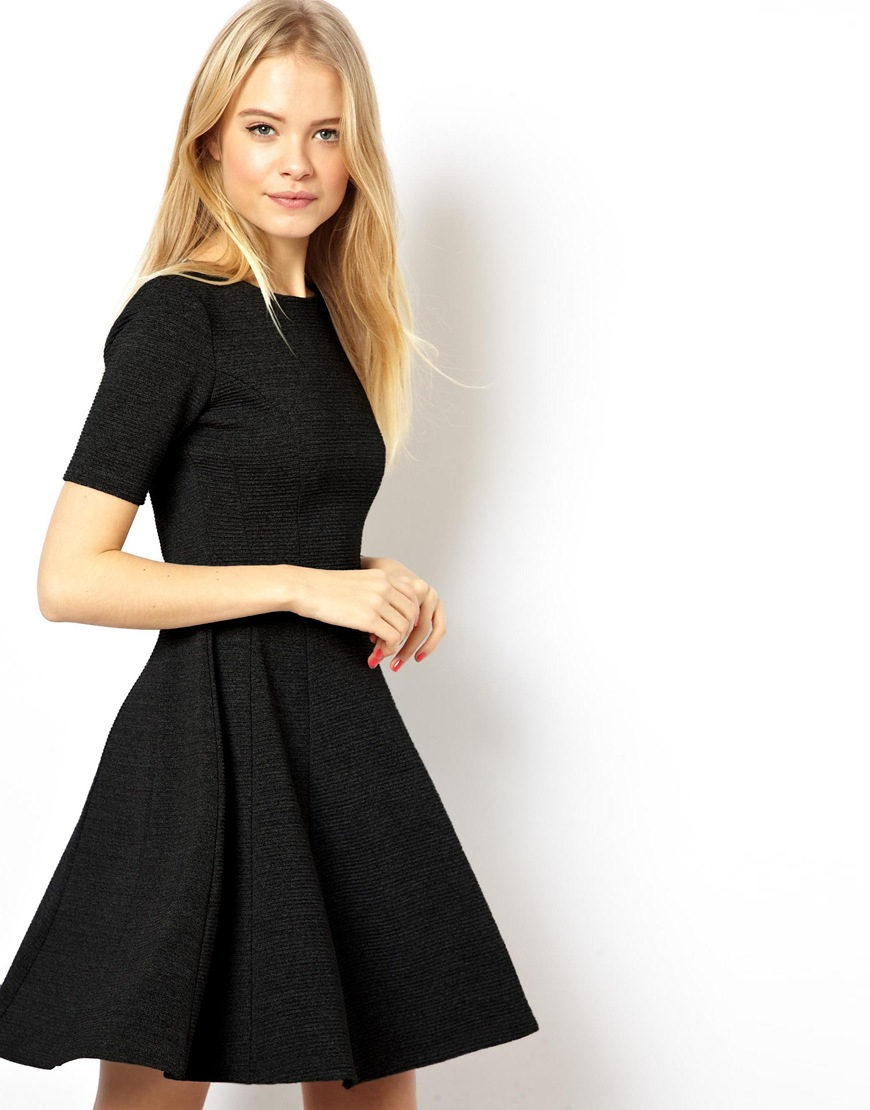 1135877695 Lyst Asos Asos Structured Skater Dress With Gold Belt In
