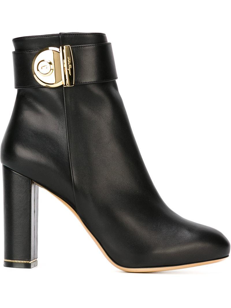 Lyst Ferragamo Negus Ankle Boots In Black