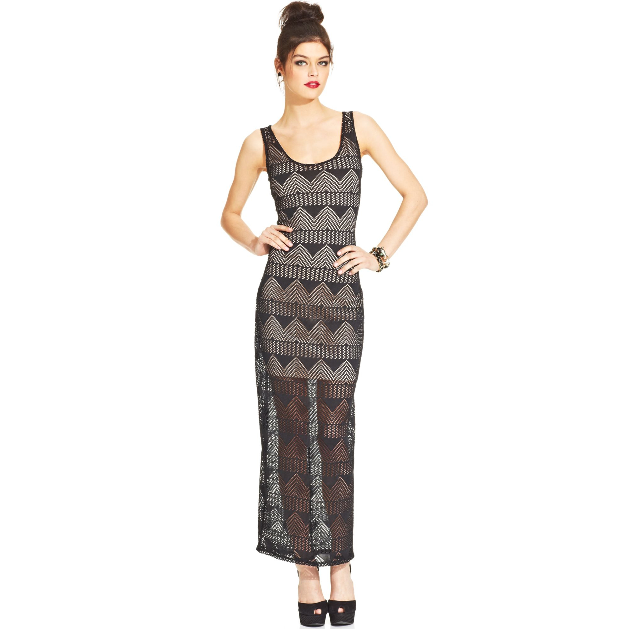 06502760b013 Lyst - Material Girl Juniors Lace Illusion Maxi Dress in Black