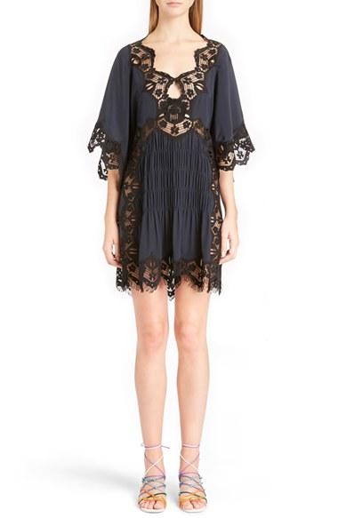 Smocked Scalloped Lace Trim Silk Dress