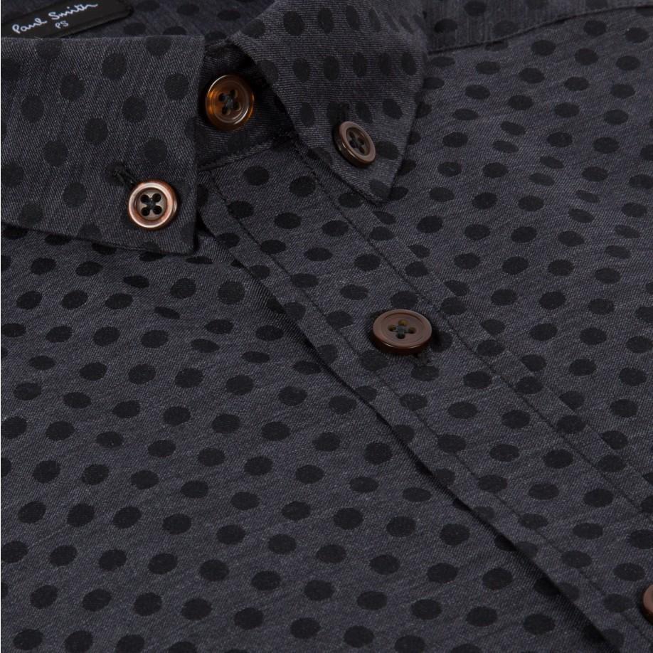 Paul smith men 39 s grey polka dot button down shirt in gray for Mens grey button down dress shirt