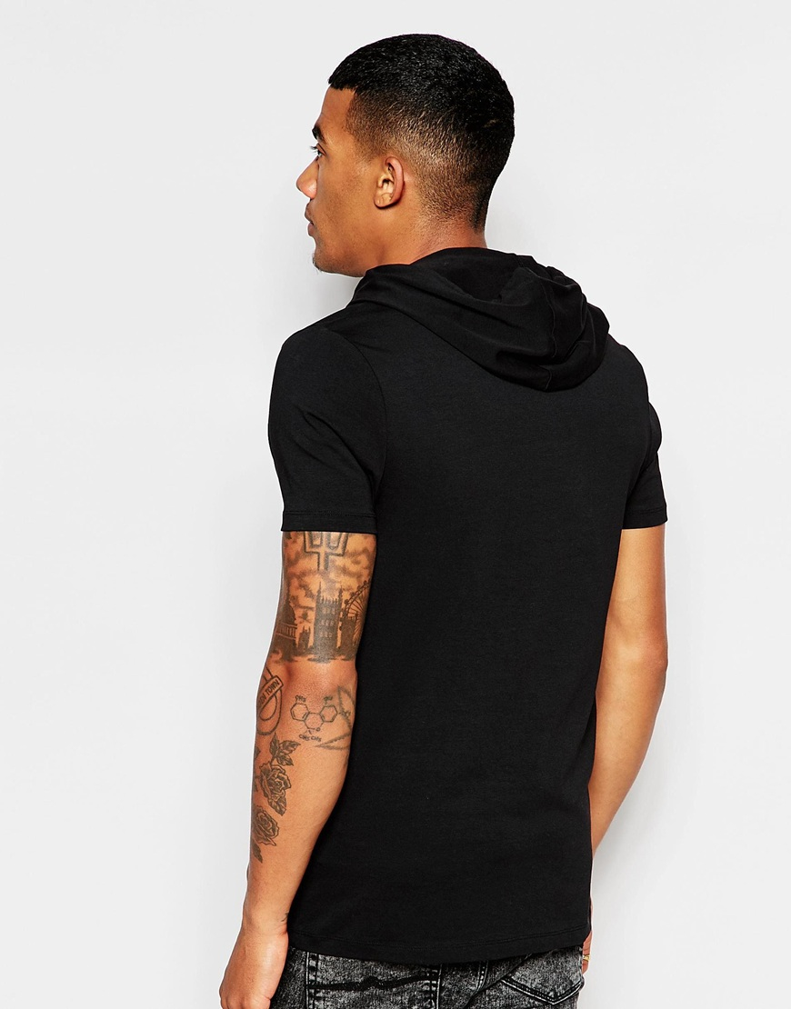 Asos fitted fit t shirt with geo print and hood with for Fitted t shirt printing