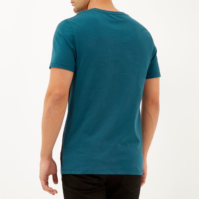 River island turquoise block color print t shirt in black for Aqua blue color t shirt