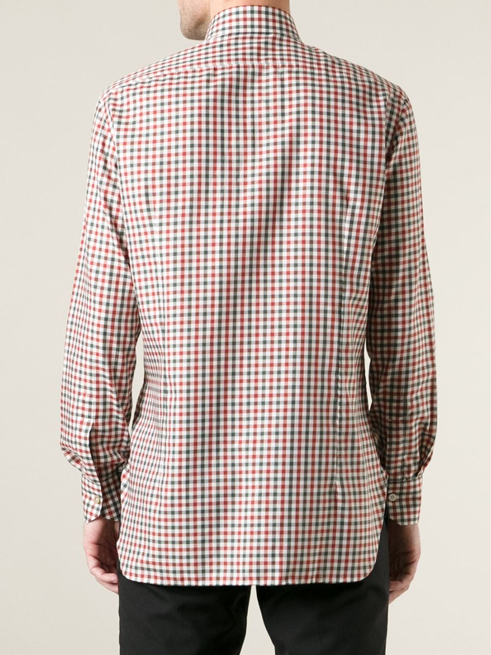 Kiton Gingham Check Shirt in Green for Men