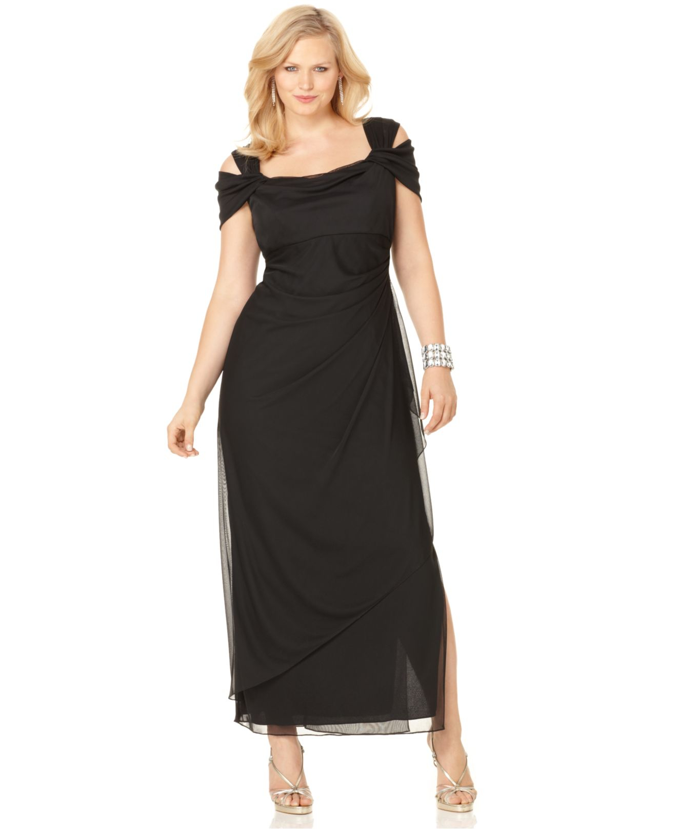 Lyst - Alex evenings Plus Size Cold-Shoulder Empire-Waist Gown in ...