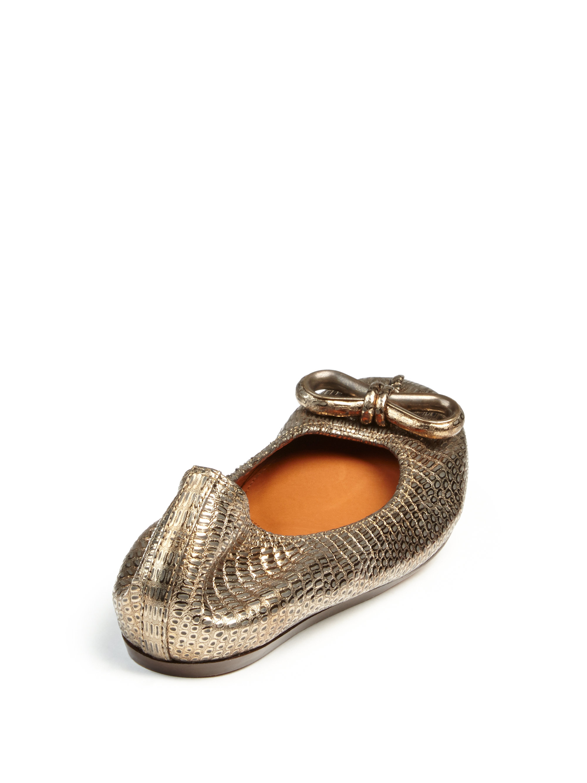 Lanvin Metallic-Embossed Leather Flats sale cheap prices discount cheap price cheap looking for authentic cheap price z82IpWn36