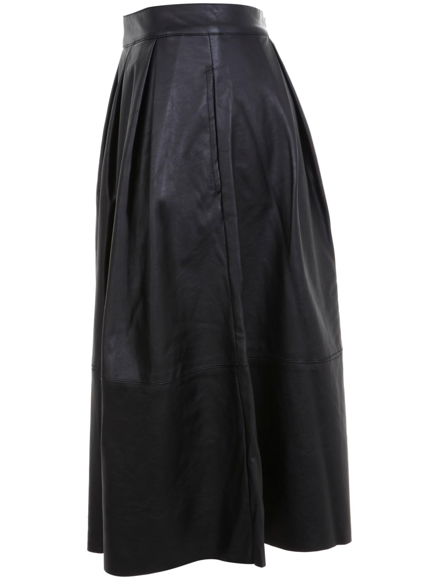 miss selfridge leather look midi skirt in black lyst