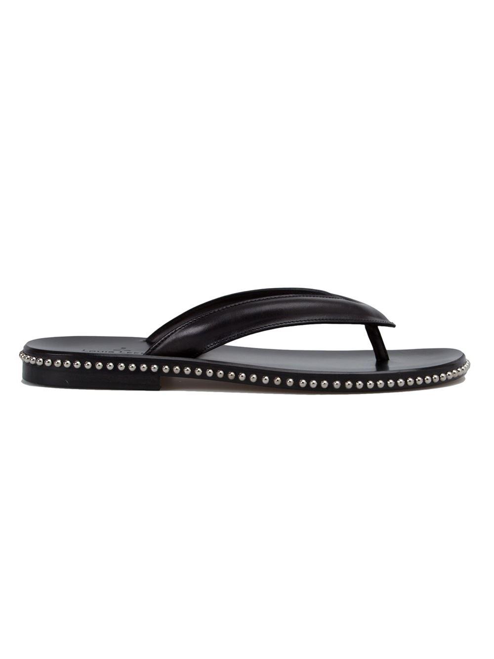 Louis Leeman Studded Flip Flops In Black For Men  Lyst-5302