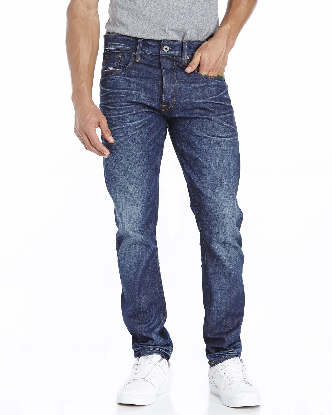 star raw 3301 tapered jeans in blue for men dark wash lyst. Black Bedroom Furniture Sets. Home Design Ideas