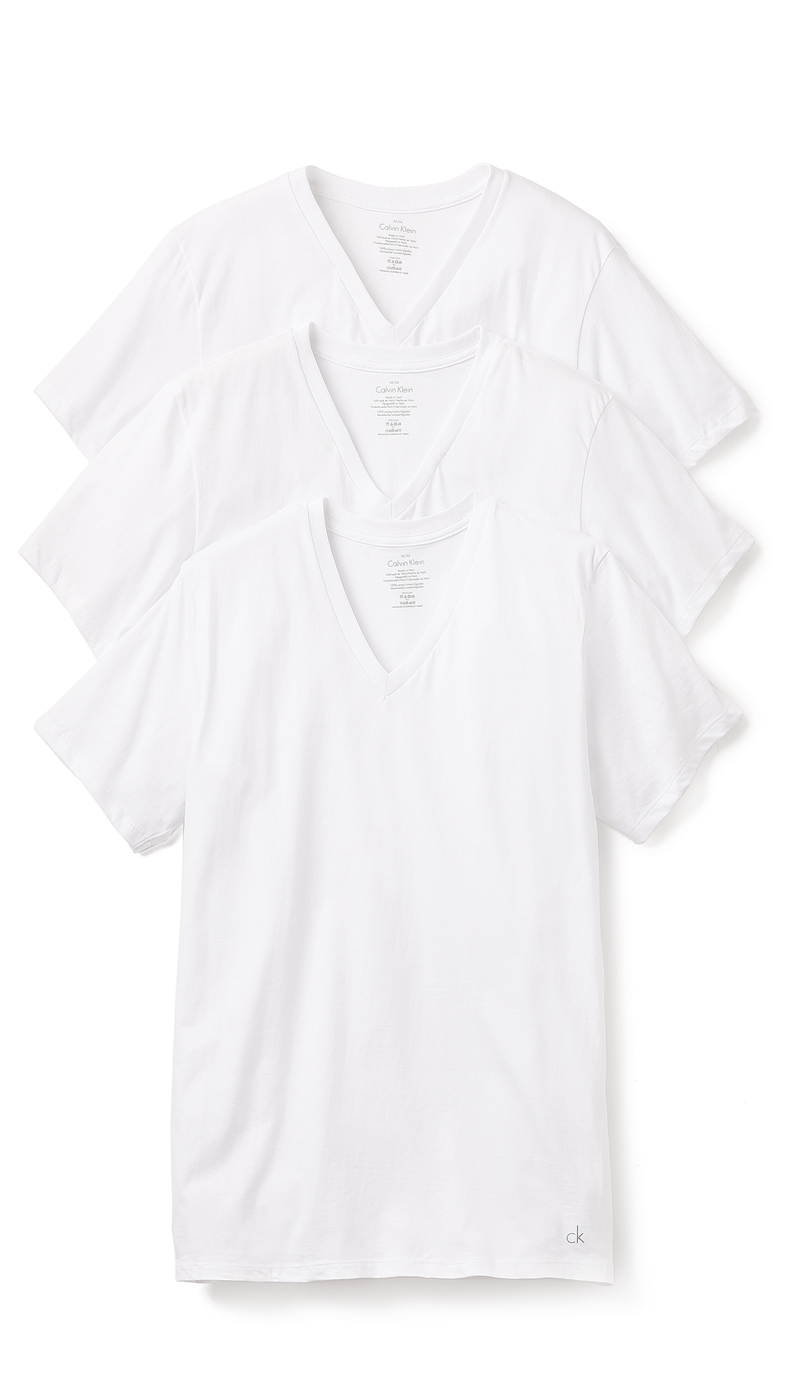 Calvin Klein 3 Pack Cotton Classic V Neck T Shirts In