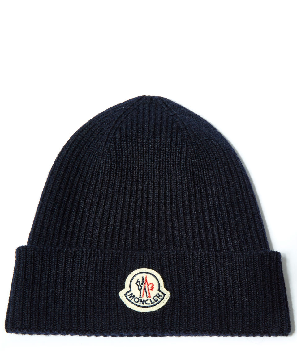 74305e7e6 Moncler Blue Navy Ribbed-knit Wool Beanie Hat for men
