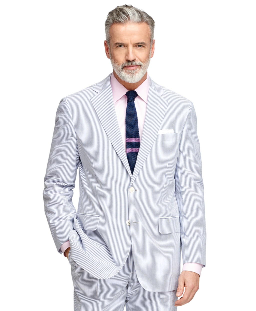 brooks brothers madison fit seersucker suit in blue for men lyst. Black Bedroom Furniture Sets. Home Design Ideas