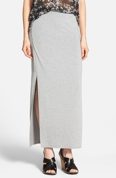 vince camuto side slit maxi skirt in gray lyst