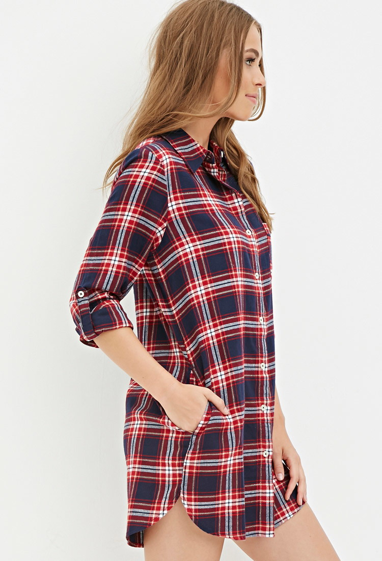Forever 21 metallic plaid flannel nightdress in blue lyst for Flannel shirts for womens forever 21