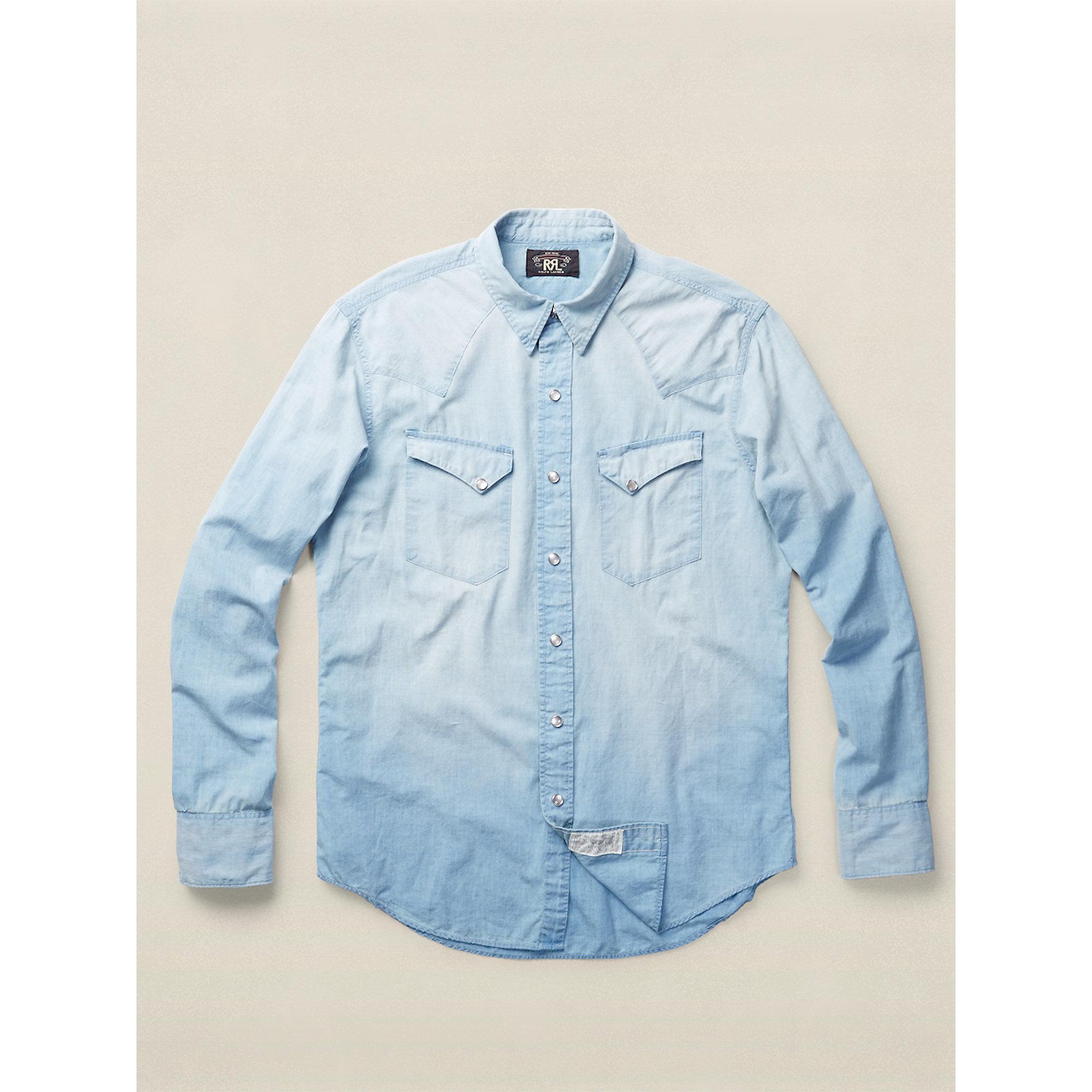 4746b726 RRL Slim Chambray Western Shirt in Blue for Men - Lyst