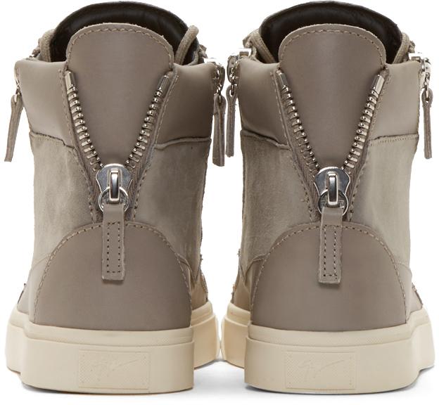 Giuseppe Zanotti Grey Suede London Sloane Sneakers In Gray