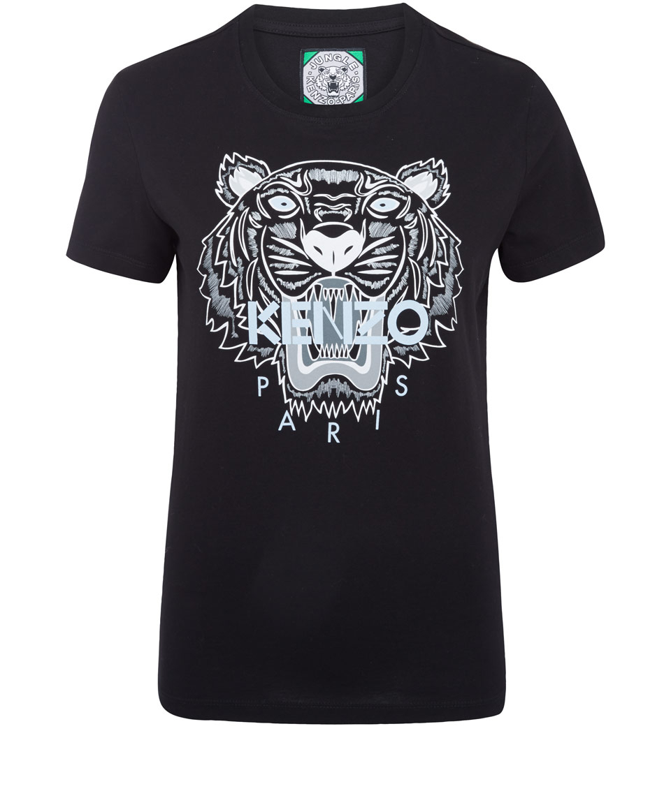 kenzo black tiger print cotton tshirt in black lyst. Black Bedroom Furniture Sets. Home Design Ideas