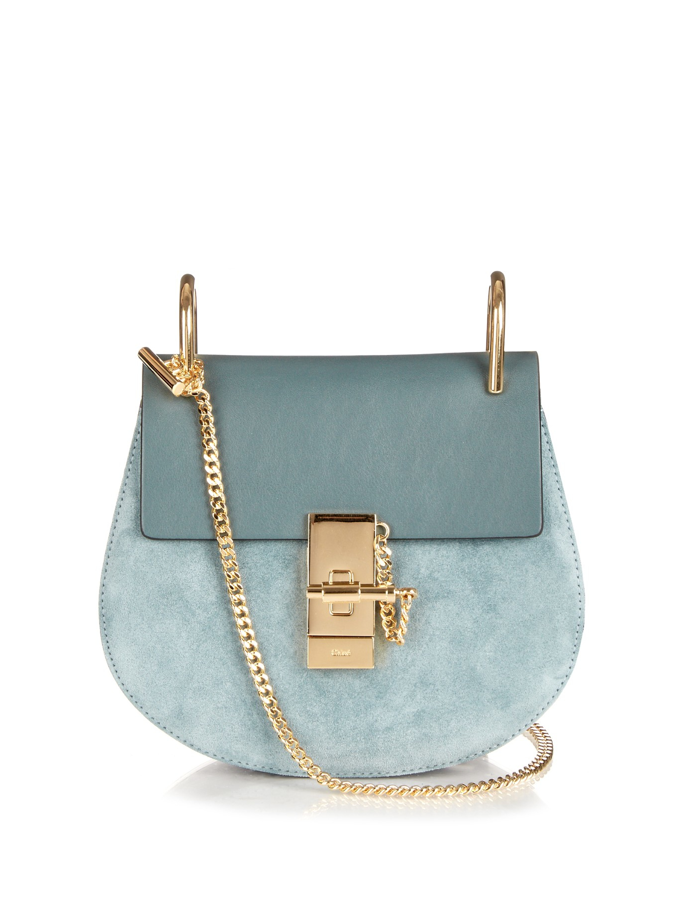 Chloé Drew Mini Leather and Suede Shoulder Bag in Blue - Lyst fcb126354210f