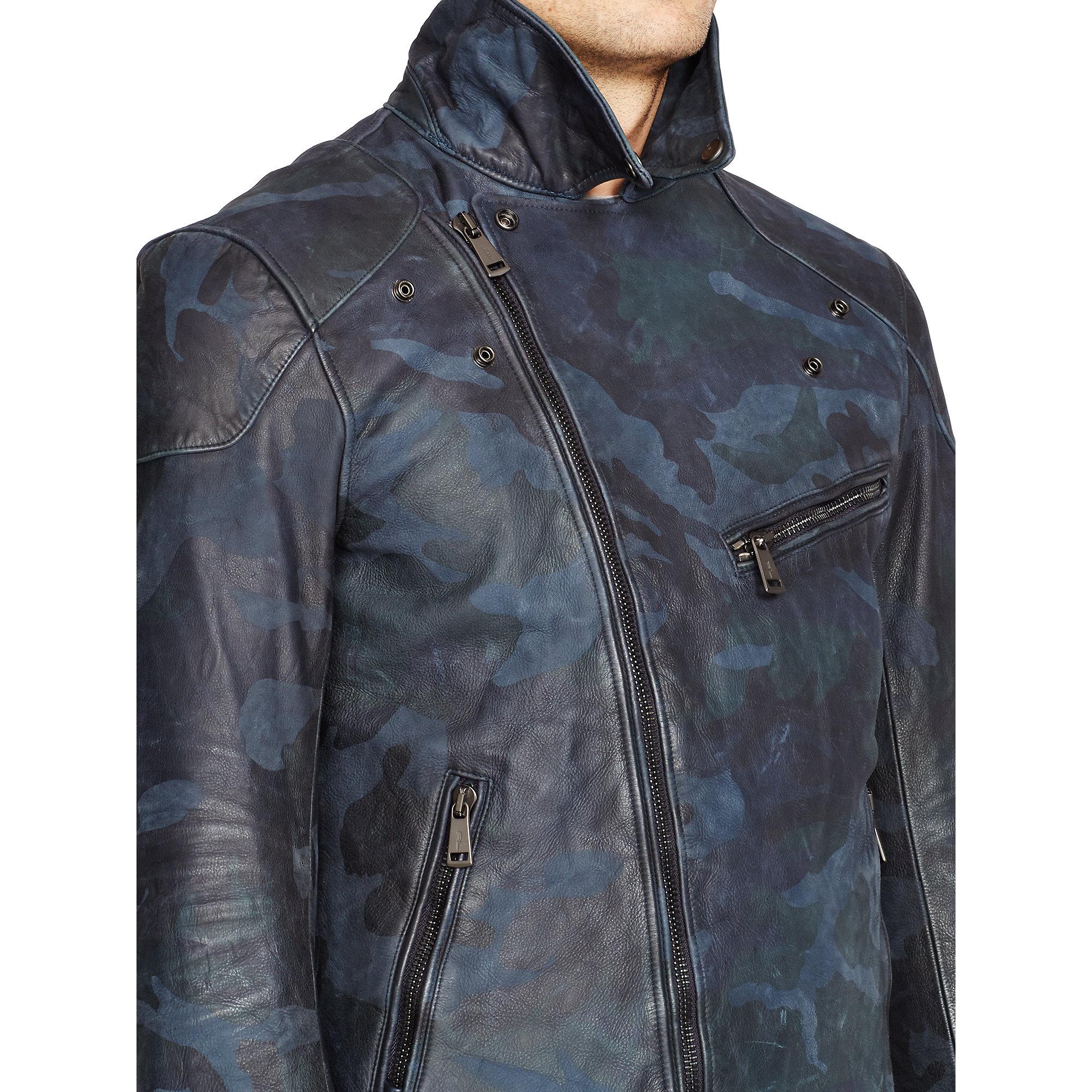 Black Biker Jacket Mens >> Ralph lauren black label Camo Leather Biker Jacket in Blue for Men   Lyst