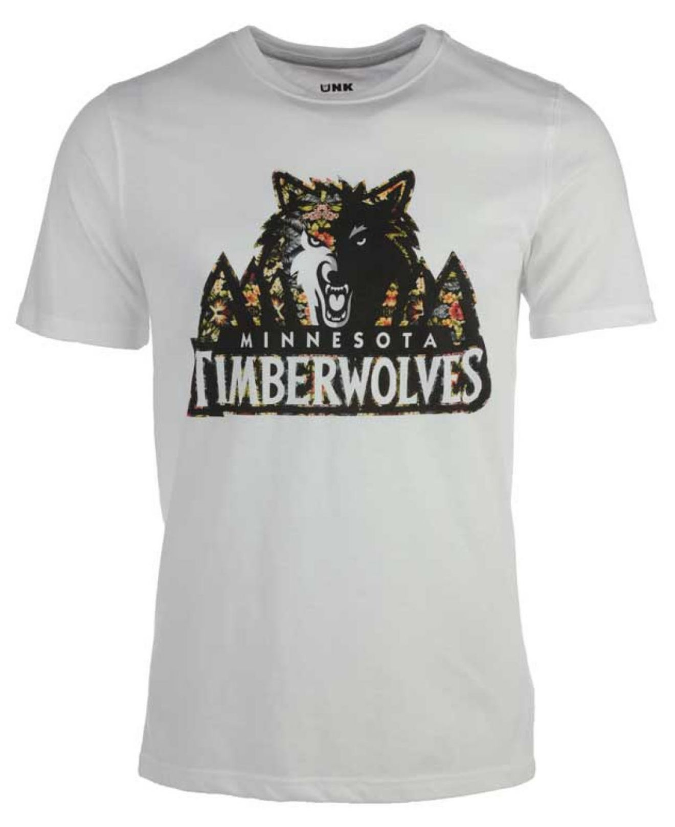 Unk men 39 s minnesota timberwolves floral joint t shirt in for Timberwolves new logo shirt