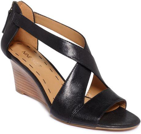 Nine West Ronton Wedge Sandals In Black Lyst