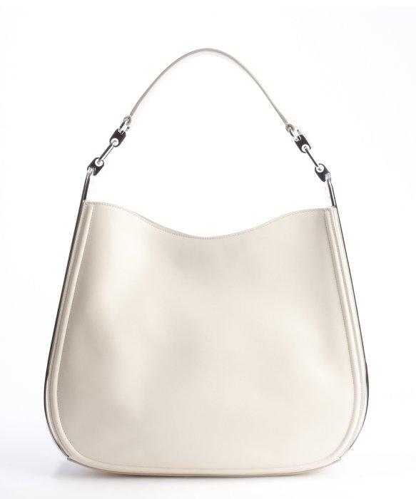 Ferragamo Cream Leather Silvertone Accent 'Kittie' Shoulder Bag in ...